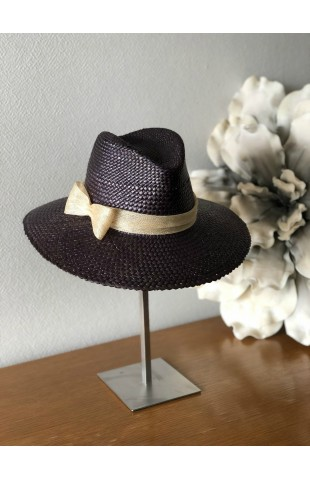 Borsalino en paille d'or marron